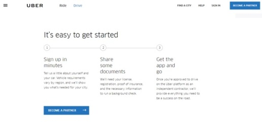 Uber driver set-up webapge