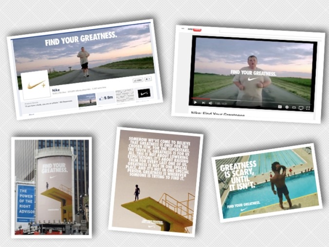 Nike's campaign integrated the same consistent look and messaging across all the different touch points from Facebook (social), Youtube, print and outdoor.